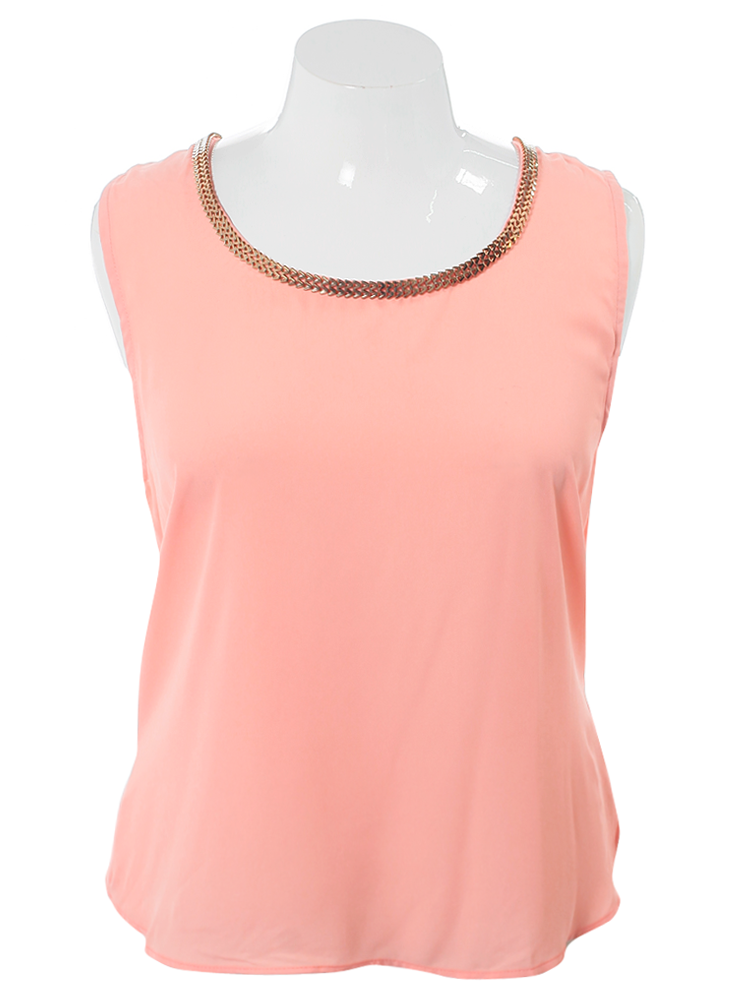 Plus Size Gilded Chains Sheer Peach Top