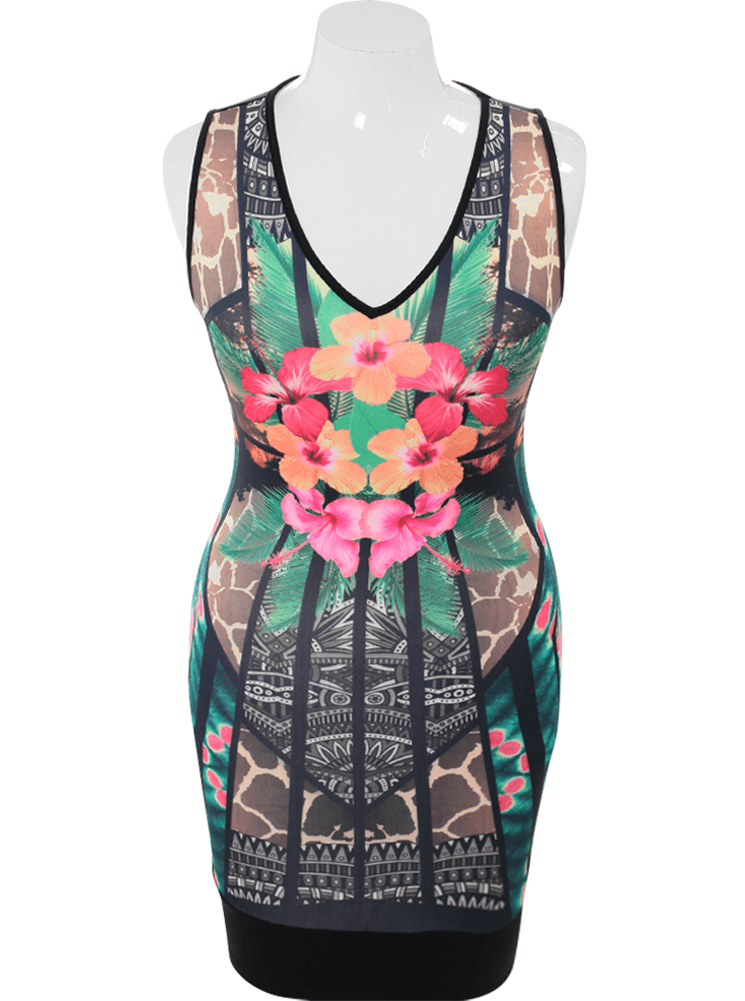 Plus Size Hawaiian Flower Bodycon Dress