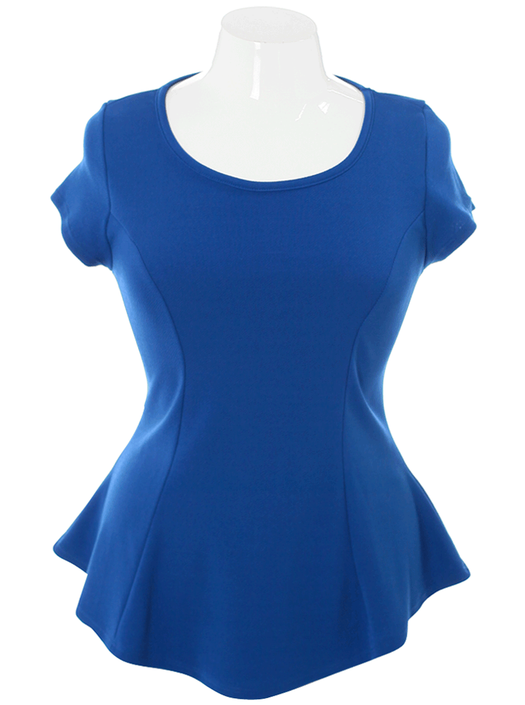 Plus Size Adorable Cap Sleeves Blue Top