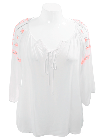 Plus Size Southwestern Orange Embroidered Blouse
