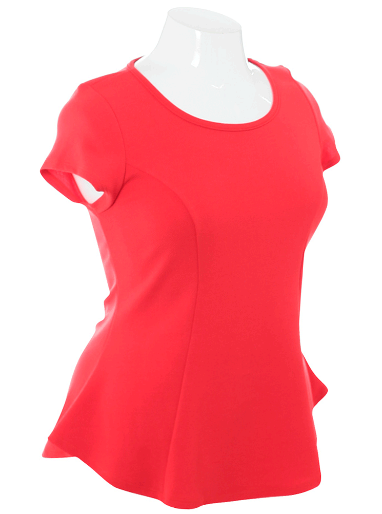 Plus Size Adorable Cap Sleeves Coral Top