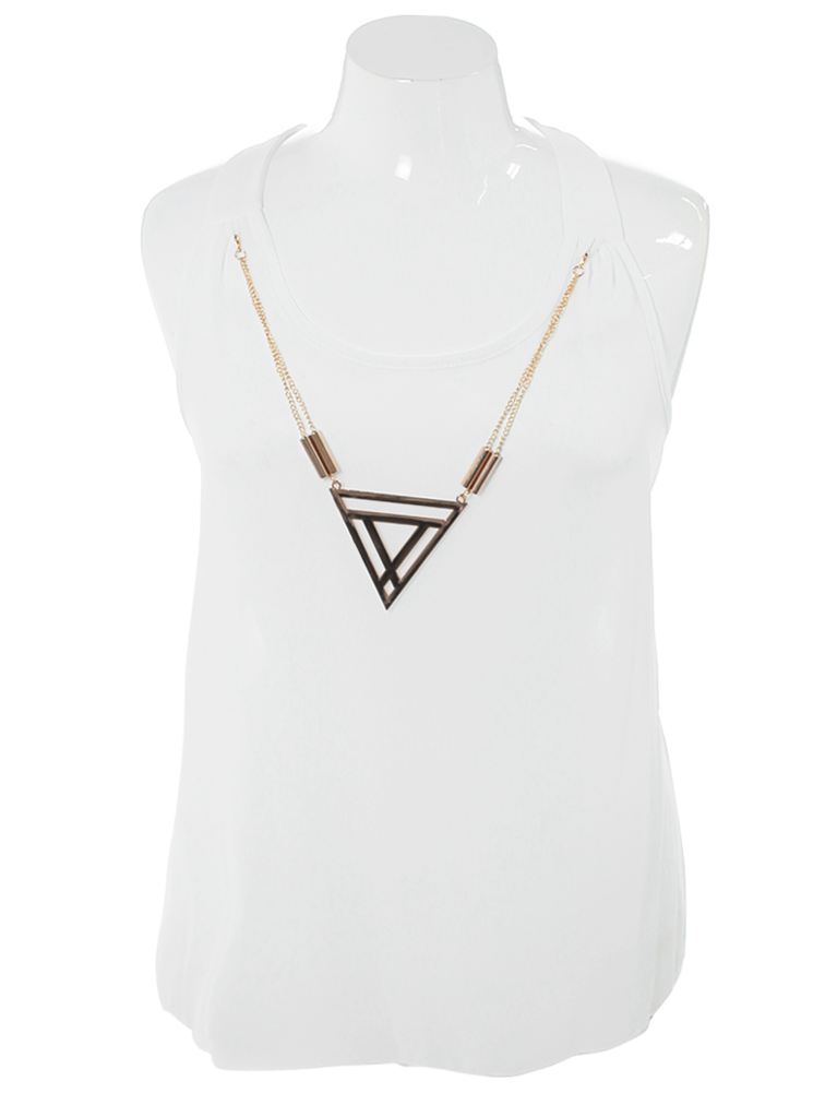 Plus Size Triadic Pendant Sheer White Top