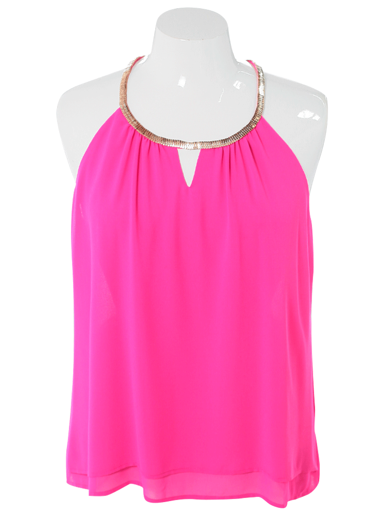 Plus Size Gilded Neckline Sheer Pink Top