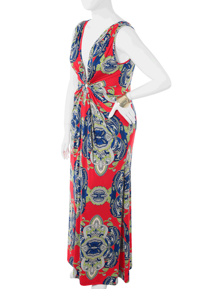 Plus Size Alluring Victorian Print Red Maxi Dress