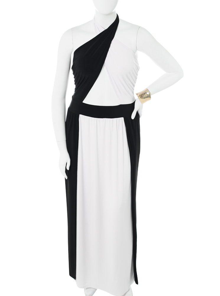 Plus Size Cross My Heart High Slit White Maxi Dress