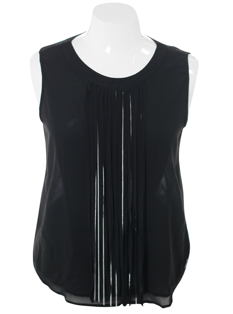 Plus Size Stylish Fringe Sheer Black Top