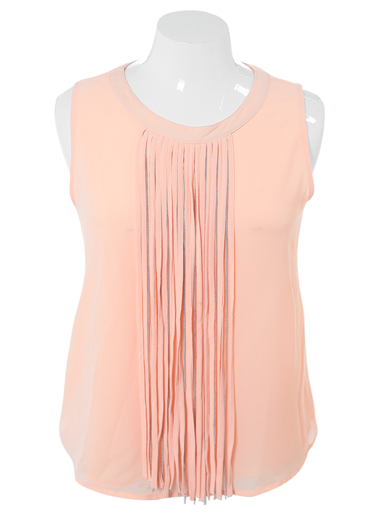 Plus Size Stylish Fringe Sheer Peach Top