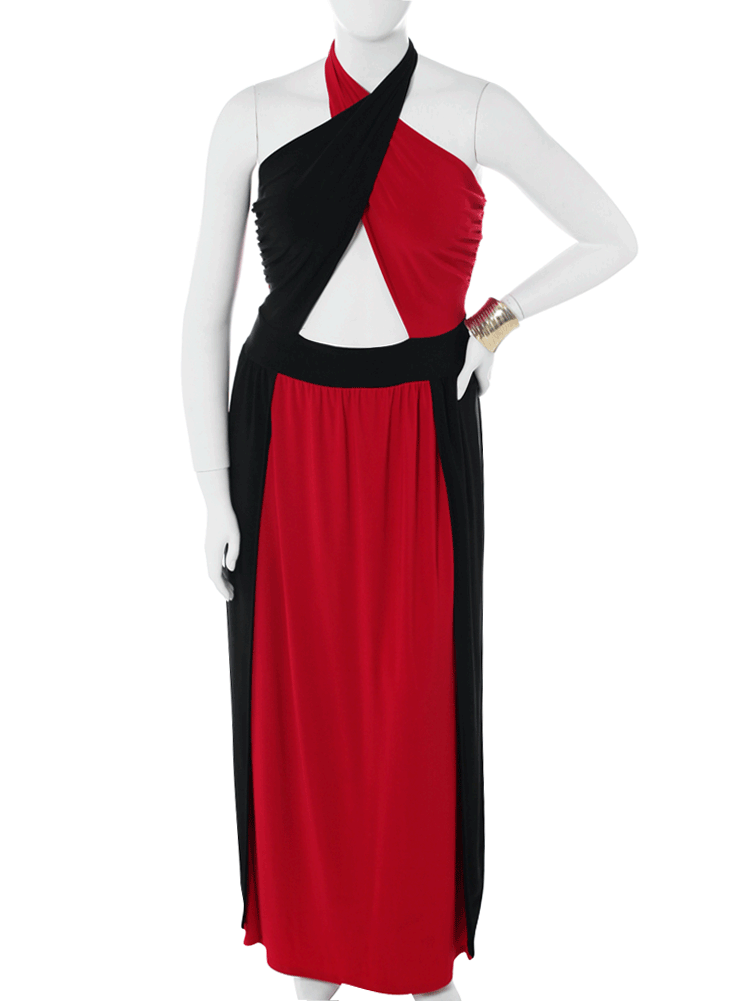 Plus Size Cross My Heart High Slit Red Maxi Dress