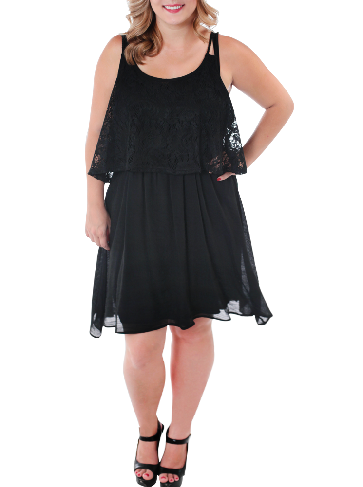 Plus Size Darling Boho Crochet Black Dress