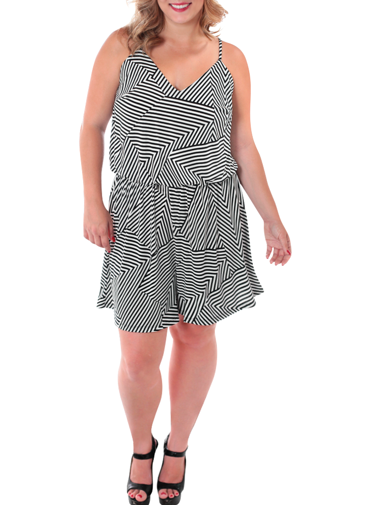 Plus Size Summer Sexy Striped Romper