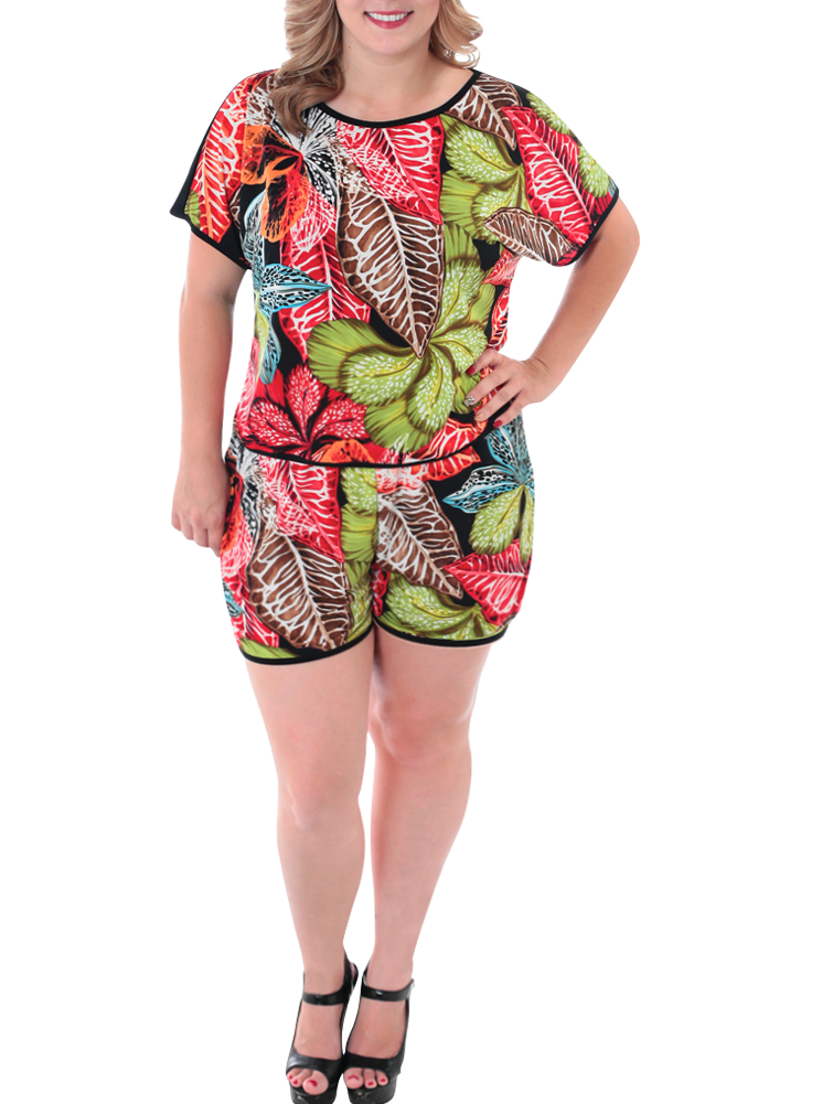 Plus Size Escape to Paradise Shorts Set