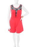 Plus Size Lace Persuasion Red Romper