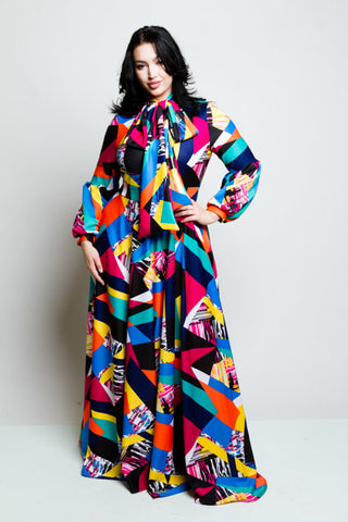 Plus Size Colorblocked Bow Maxi Dress