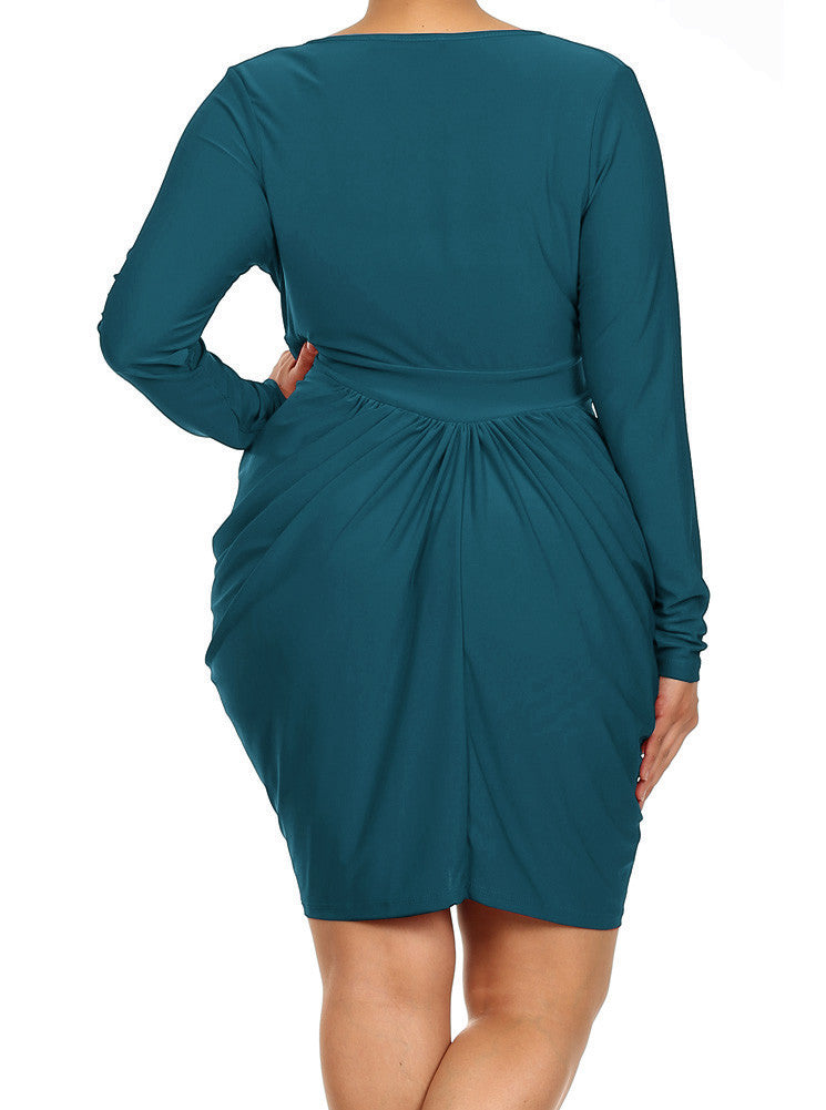 Plus Size Long Sleeve V Neck Bubble Aqua Blue Dress