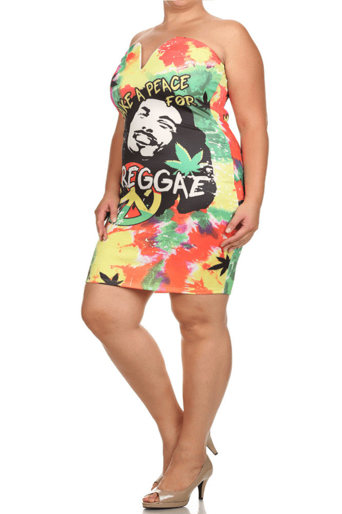 Plus Size For Peace Reggae Graphic Print Dress