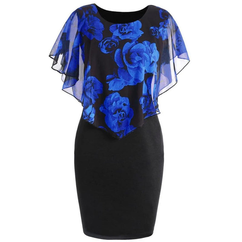 Plus Size Elegant Chiffon O-Neck Ruffles Floral Layered Dress