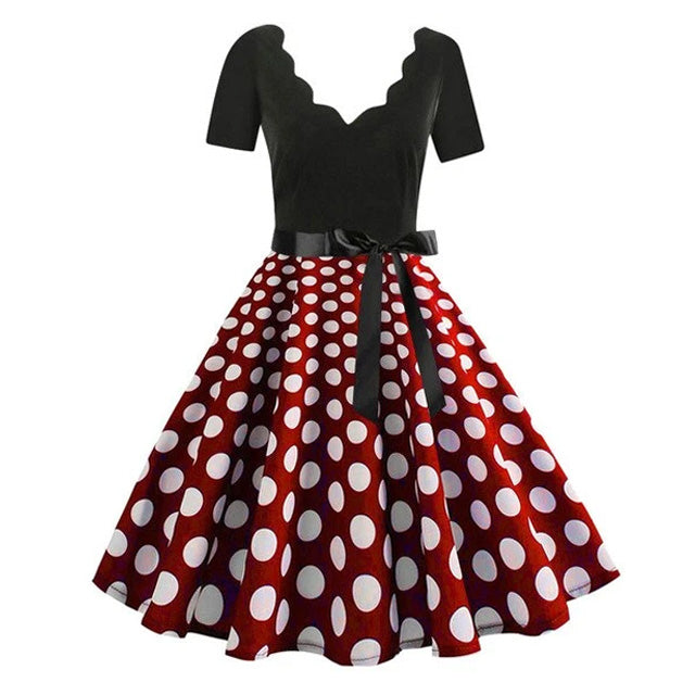 Plus Size Polka Dot Scallop Neck Short Sleeve Flare Dress