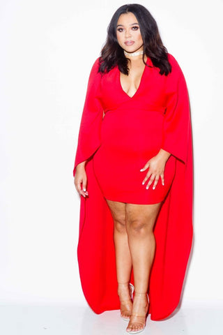 Plus Size Cape Bodycon Dress