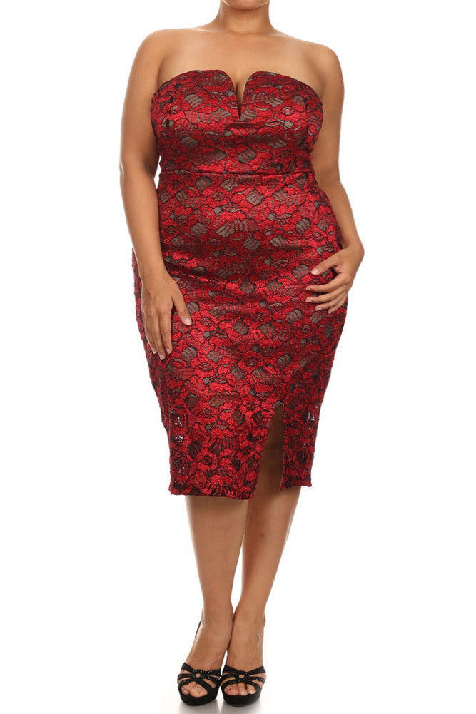 Copy of Plus Size Sparkling Flower Red Plunging Dress