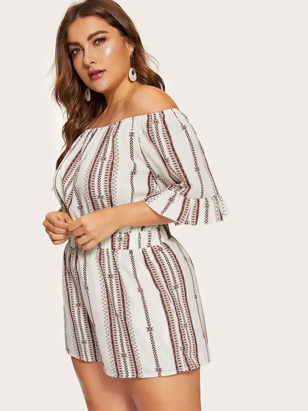 Plus Size Off The Shoulder Embroidery Romper