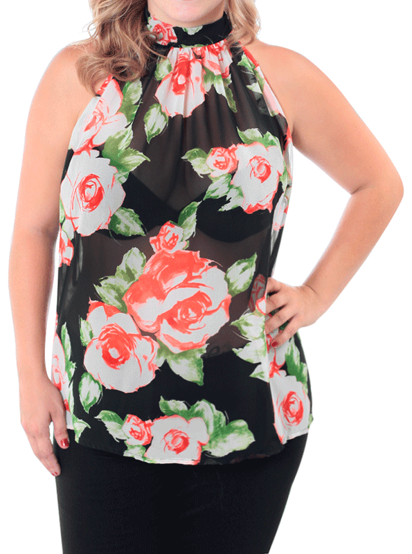 Plus Size Blooming Days Sheer Black Top