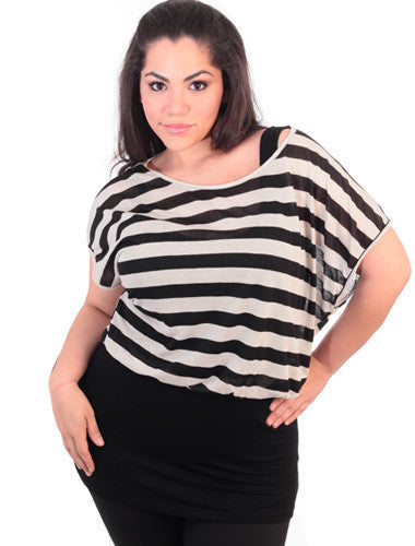 Plus Size Layered Stripe Black Tunic