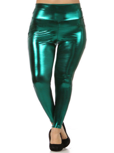 Plus Size Shine Bright High Waist Green Leggings