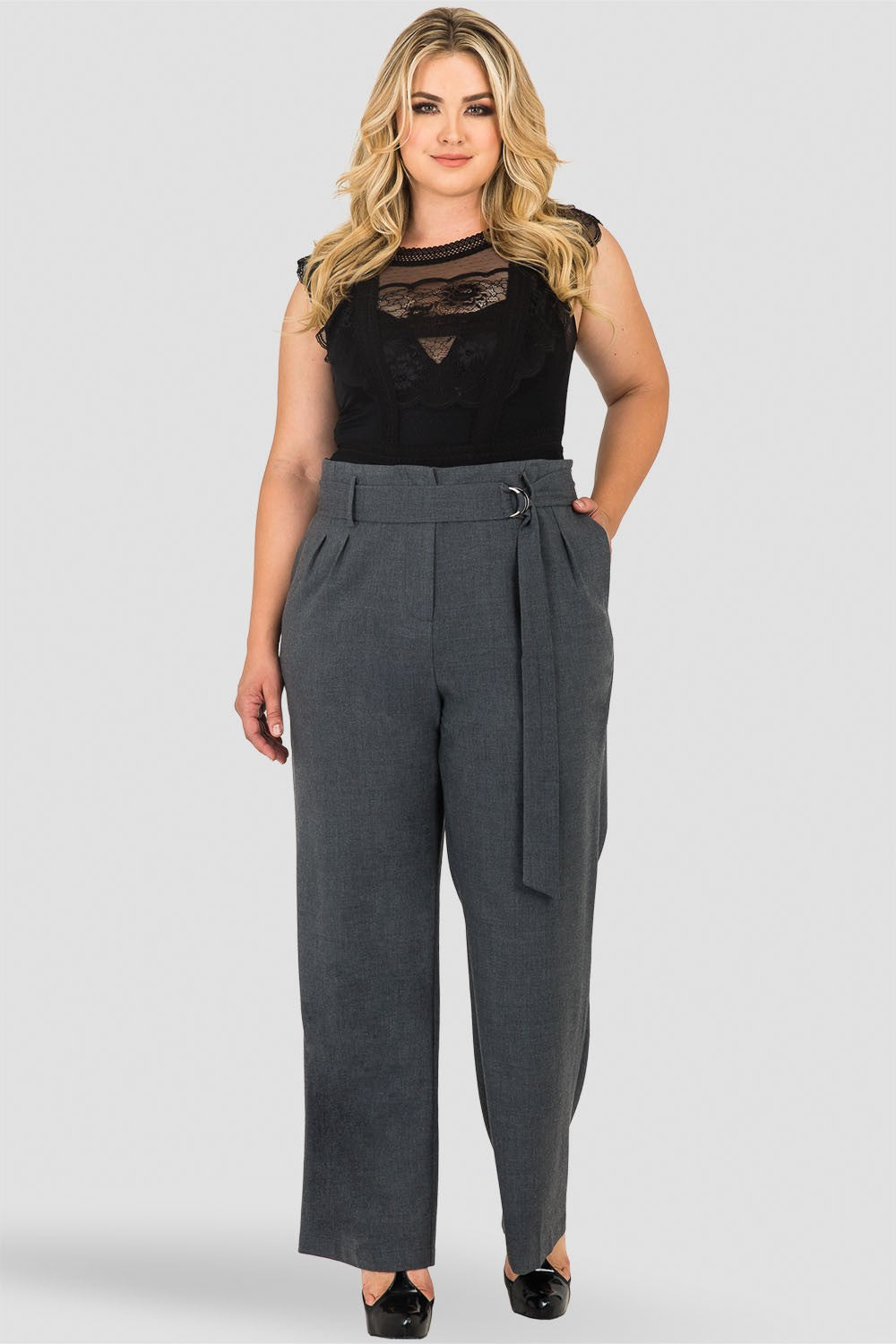 Plus Size Franchesca D-Ring Belt Straight Leg Paper Bag Waist Pants - Charcoal Gray
