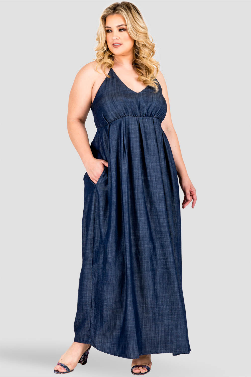 Plus Size Maui Halter Neck Indigo Tencel Denim Maxi Dress