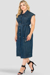 Plus Size Aida Long Frayed Drop Shoulder Sleeveless Grommet Belt And Released Hem Jacket Dress