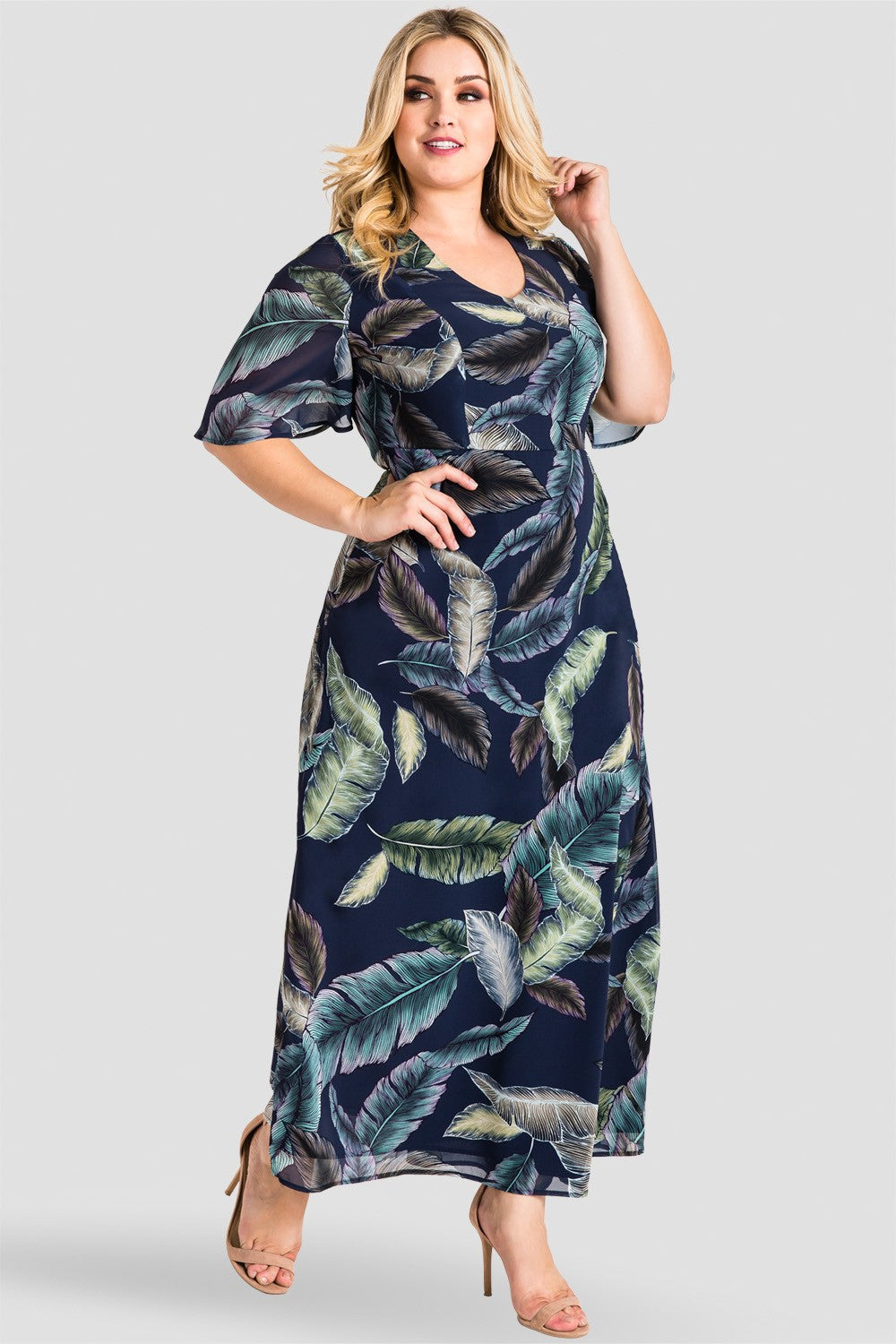 Plus Size Lindsey Butterfly Sleeve Cut-Out Back Maxi Dress -Tropical Leaf Print