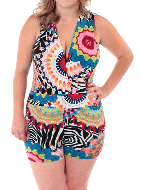 Plus Size Psychedelic Bloom Pink Romper