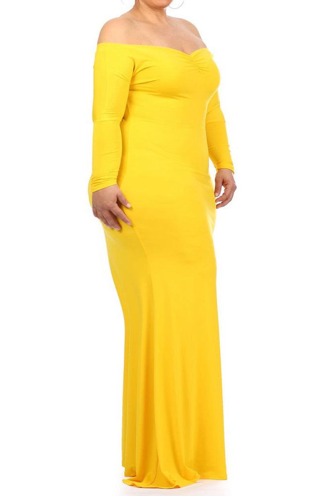 Plus Size Solid Stretch Mermaid Maxi Dress