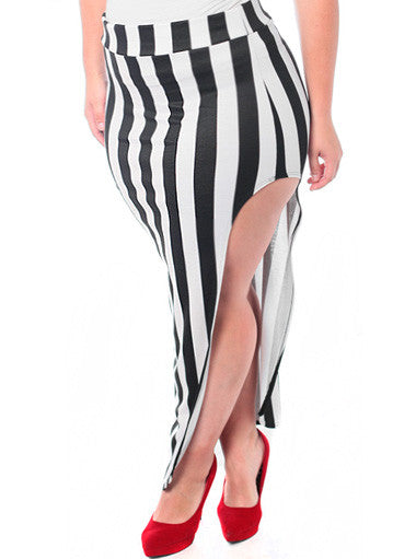 Plus Size Sexy Bold Stripe Long Skirt