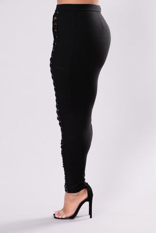 Plus Size City Girl High Waist Lace Up Pants