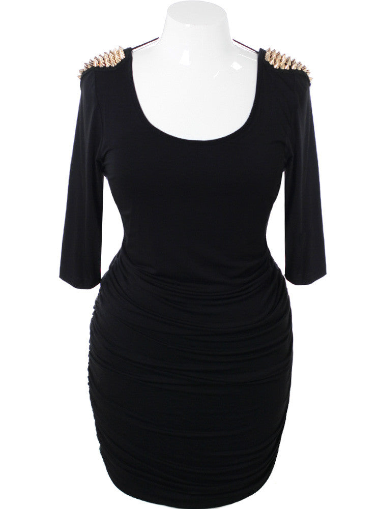 Plus Size Gold Spike Shoulders Black Dress