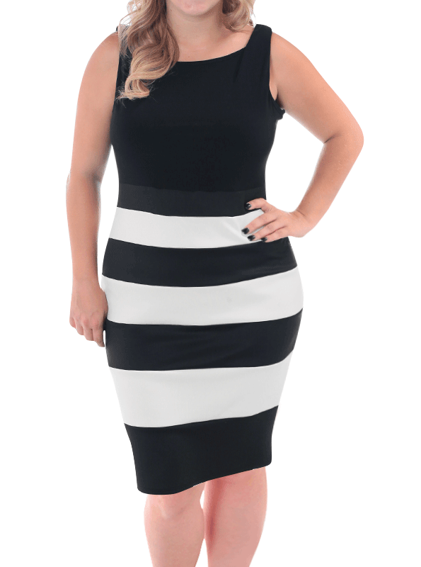Plus Size Sensuous Nautical Striped Dress
