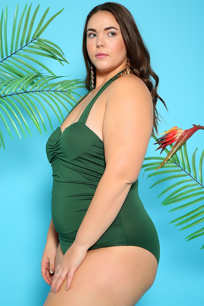 Sexy Olive Ruched Halter Plus Size One Piece Swimsuit