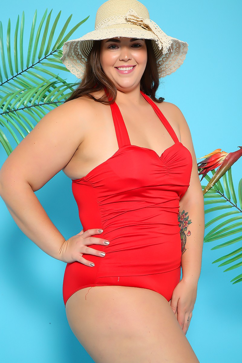 Sexy Red Ruched Halter Plus Size One Piece Swimsuit