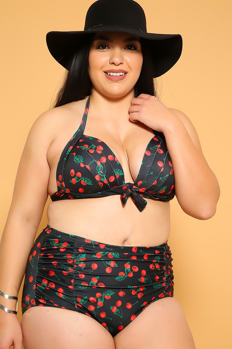 Sexy Blue Cherry Print Padded High Waist Plus Size Two Piece Bikini