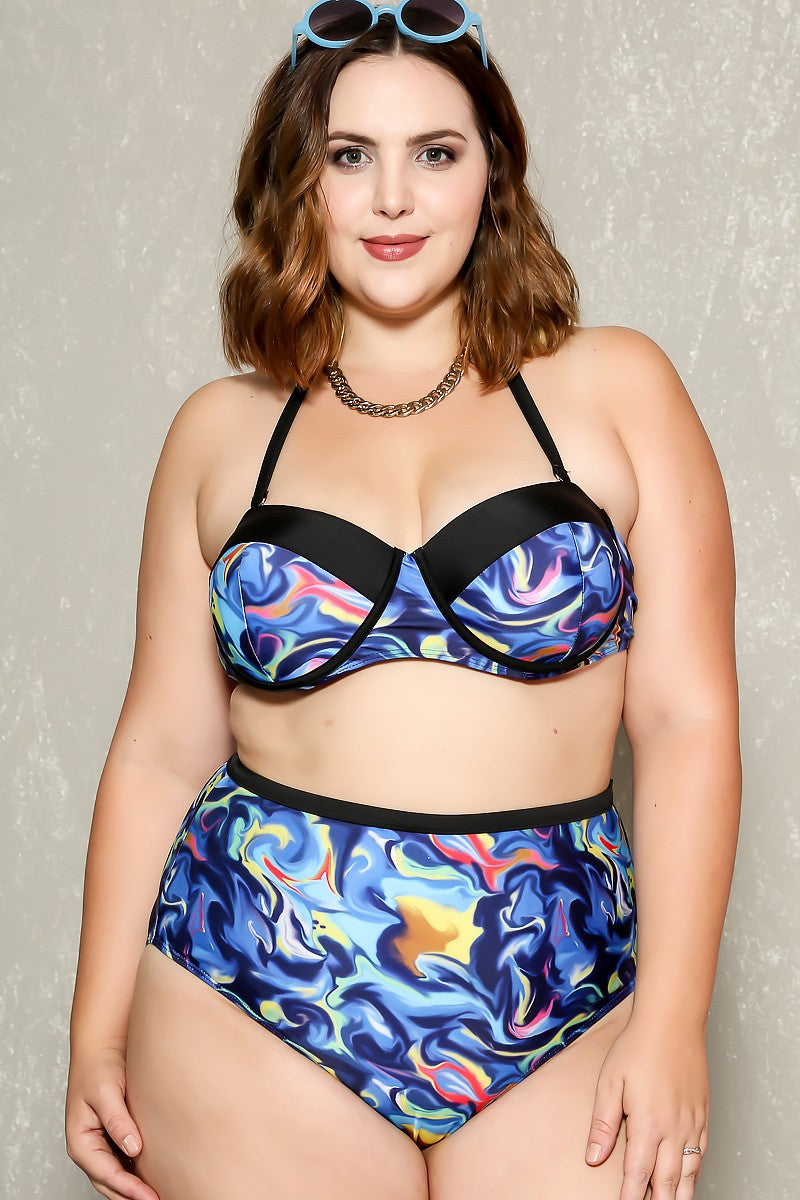 Sexy Green White Leaf Print Plus Size Two Piece High Waist Swim