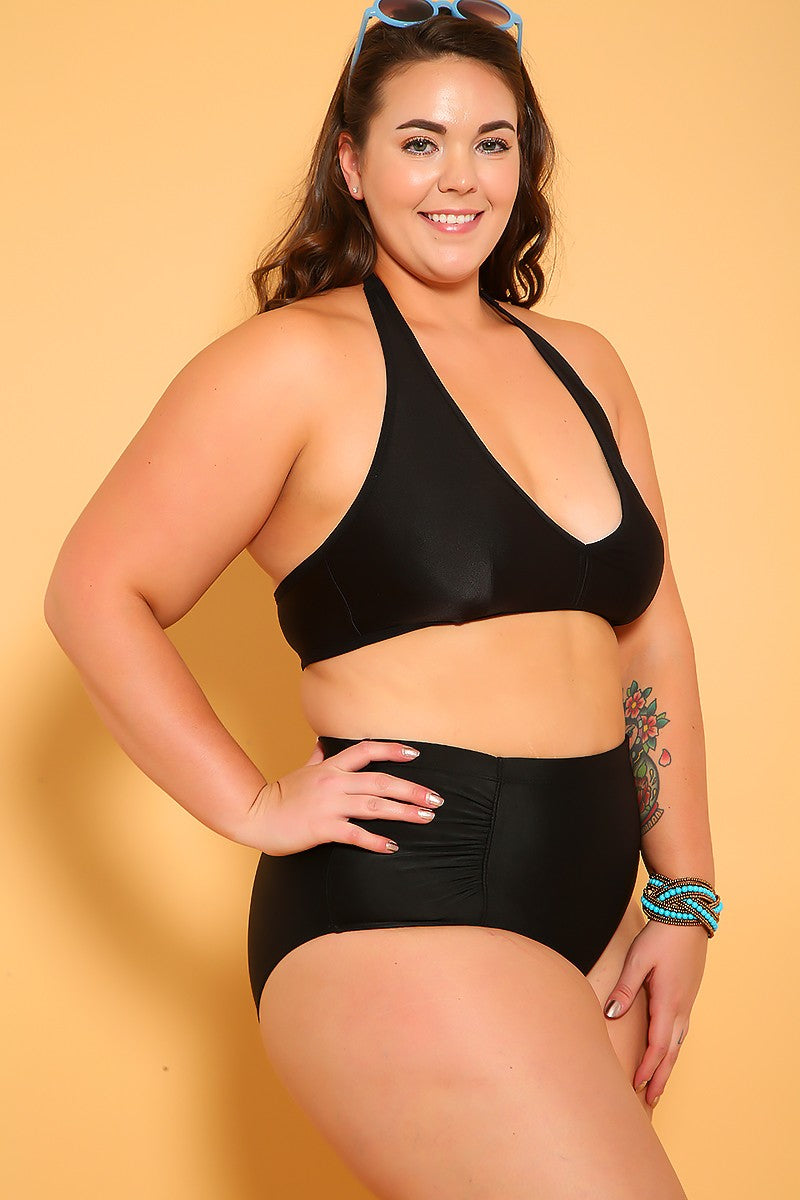 Sexy Black Printed Cutout Plus Size One Piece Swimsuit