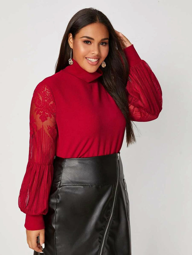 Plus Size Chic High Neck Lace Sleeve Top