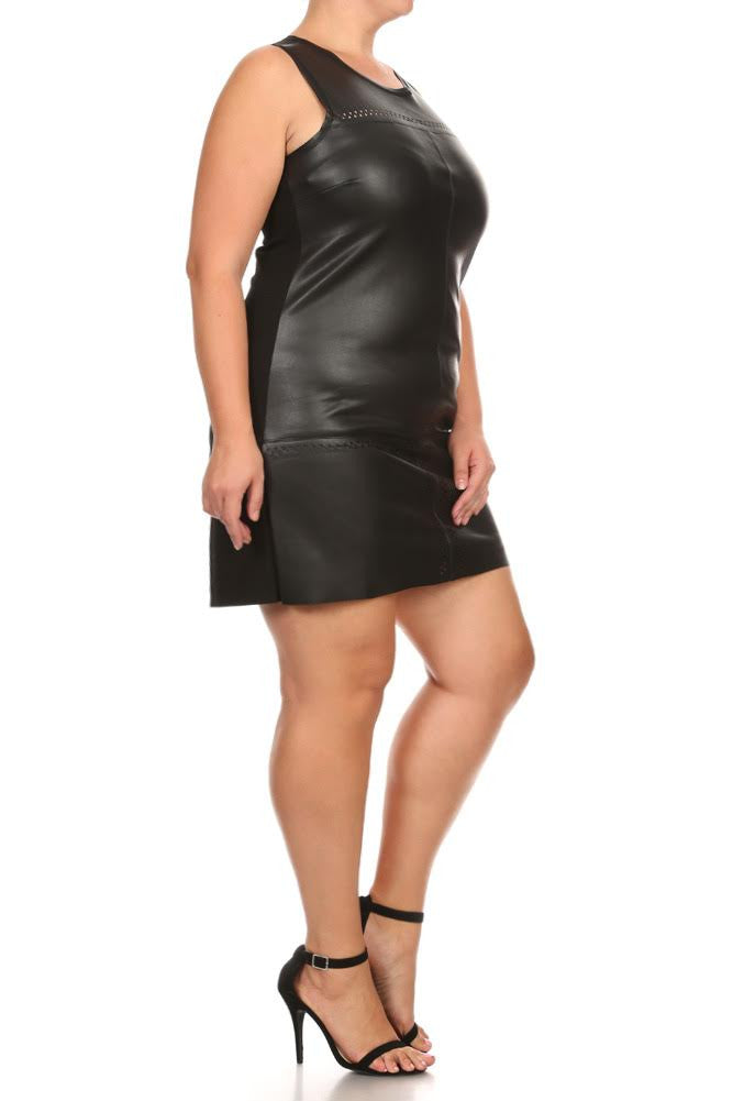 Leather Babe Pyramid Cut Outs Plus Size Dress