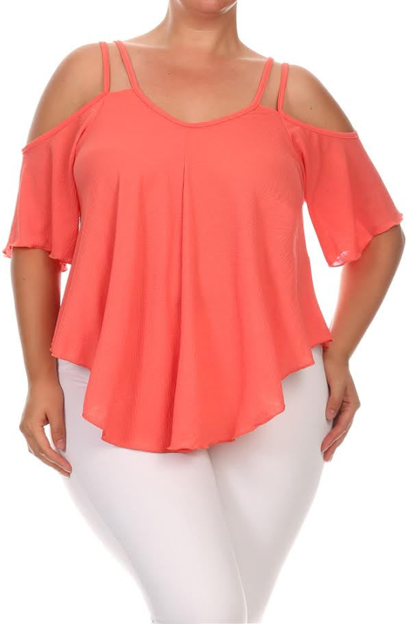 Cold Shoulder Ruffle Sleeve Plus Size Top