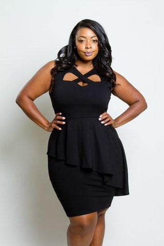 Plus Size Stunning Crossed Neckline Peplum Dress