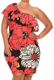 Pretty One Shoulder Ruffled Floral Print Dress