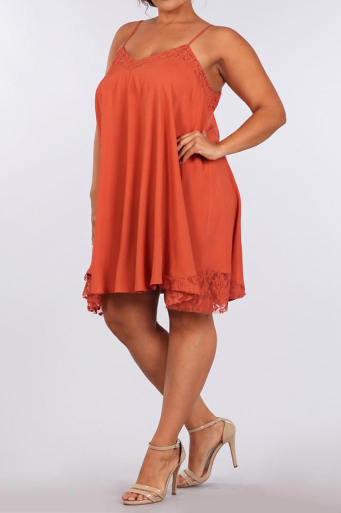 Lovelace A Line Silky Plus Size Slip Dress