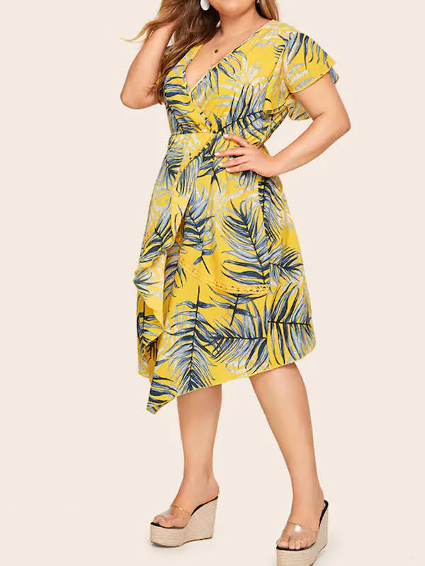 Plus Size Surplice Neck Leaf Print Dress