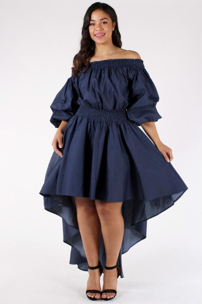 Angelic Ruffle Plus Size Denim Dress Plussizefix